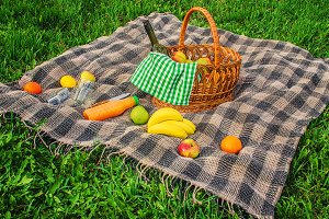 Plaid for a picnic on the grass.