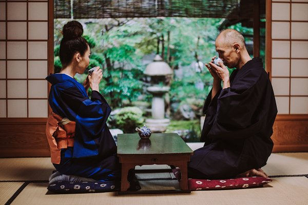 People Stock Photos - Senior couple moments in Kyoto