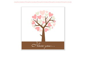 "Hand Drawn ""I love you"" card, tree"