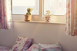Romantic pink Bedroom interior