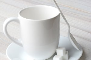 Coffee Mug Spoon Sugar Cubes