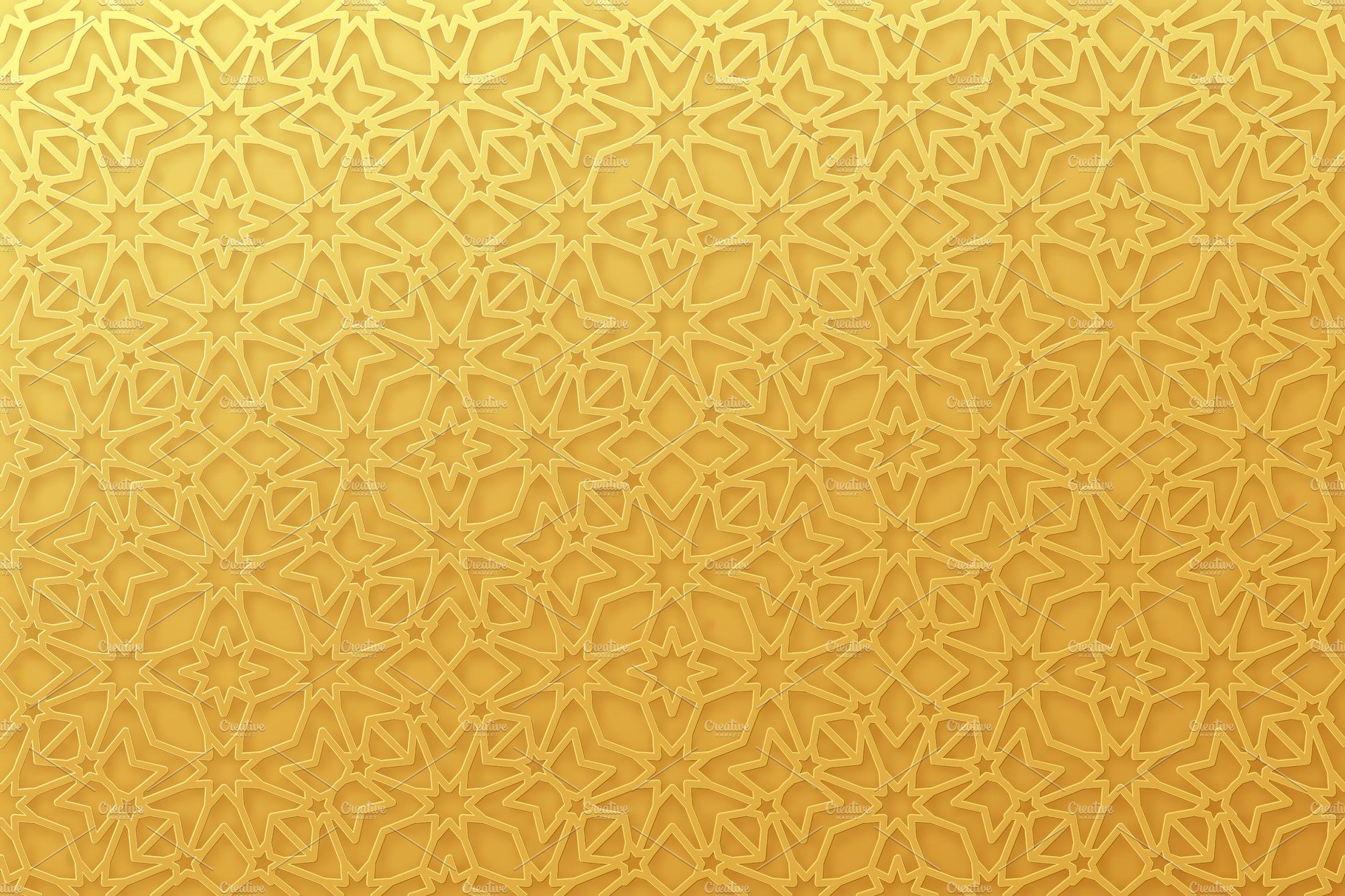 Arabic Pattern Background. Islamic Gold Ornament Vector