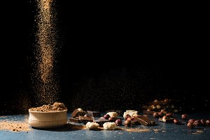 Cocoa powder in motion