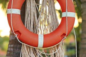 Circular red Life Buoy