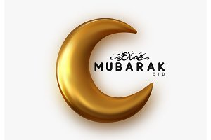 Eid Mubarak islamic design gold crescent moon with arabic handwritten calligraphy Ramadan Kareem