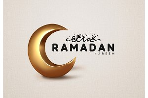 Ramadan Kareem islamic design gold crescent moon with arabic handwritten calligraphy