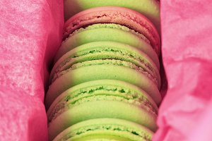 macarons in pink paper