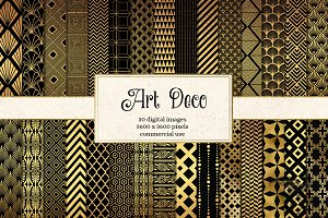 Art Deco Black & Gold Digital Paper