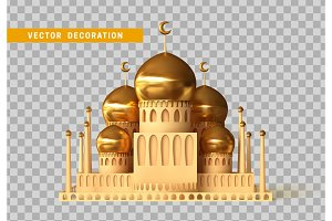 Mosque building realistic 3d design isolated with transparent background vector illustration