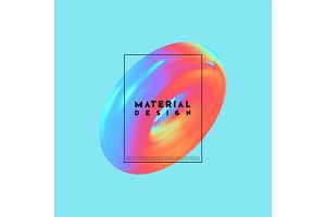 Modern abstract background. Gradient colorful composition 3d shapes ring