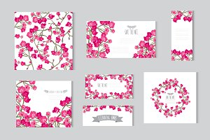 Pink Roses Floral Cards