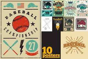 Baseball vintage posters/labels.