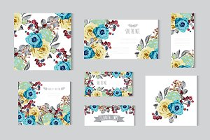 Blue Yellow Roses Floral Cards