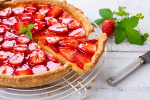 Strawberry tart on a rack