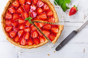 Strawberry tart top view