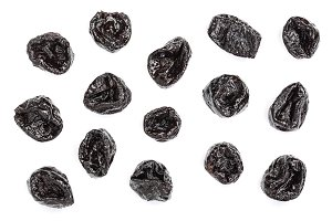 Dried plum - prunes isolated on a white background. Top view. Flat lay