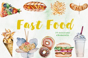 Watercolor Fast Food Clipart Set