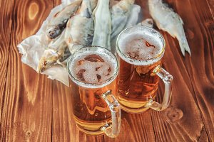 dried fish and beer. selective focus