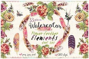 Watercolor Flower Feather Bundle Kit
