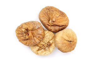 Dry figs isolated on white background, top view