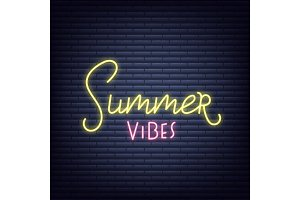 Summer neon banner. Glowing sign of Summer vibes lettering