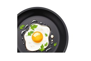 Pan with fried egg. Cooking food.