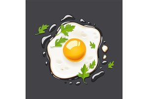Fried egg. Fast food.