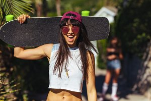 Skateboarder enjoying