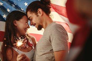 American couple celebrating