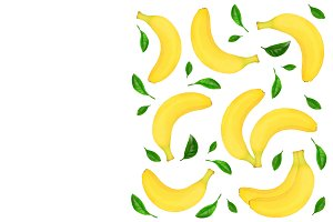 whole bananas with leaves isolated on white background with copy space for your text. Top view