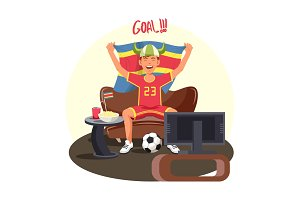 Soccer or football fan celebrating goal near TV