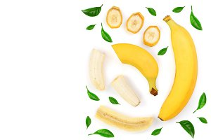 whole and sliced bananas isolated on white background with copy space for your text. Top view. Flat lay