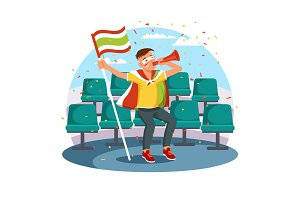 Soccer fan at stadium seats with vuvuzela