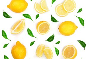 Lemon decorated with green leaves isolated on white background. Seamless pattern with fruits. Top view. Flat lay