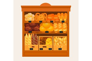 Showcase, stand or stall with bread and pastry
