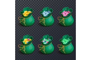 Isolated bags with gems and golden coins