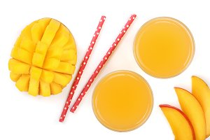 Mango juice and fruit isolated on white background close-up. Top view. Flat lay