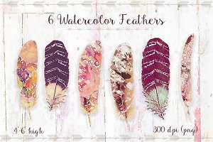 Watercolor Feathers Set 1