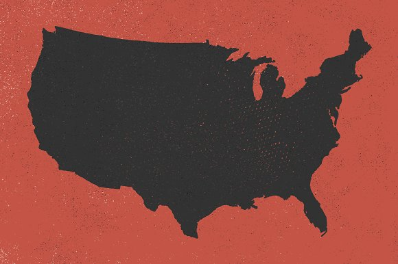 US Map Hand Illustrated Objects Creative Market - Us map red png