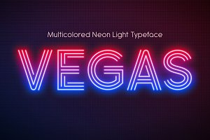 Realistic neon light font