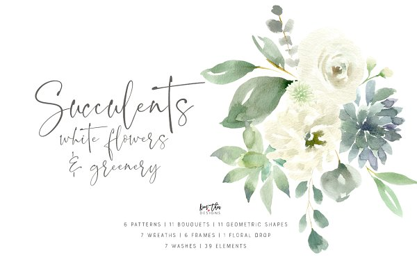 Succulents, White Flowers & Greener…