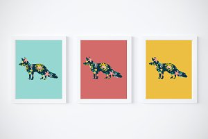 fox floral printables