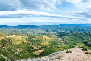 Panorama of green mountains Pyrenees