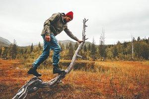Man traveler survival in wild forest