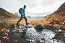 Man solo traveling backpacker hiking by everst in Sports