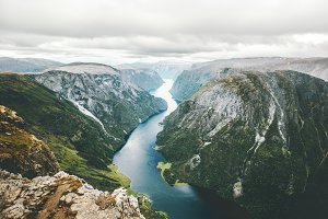 Norway Landscape fjord and mountains