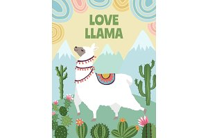 Background vector picture of llama, mountains and cactus. Cartoon illustrations for poster design template