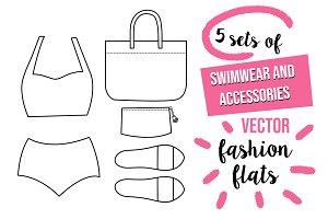 Swimwear vector fashion flats