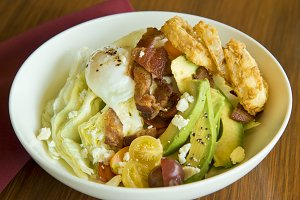 Salad with bacon and egg