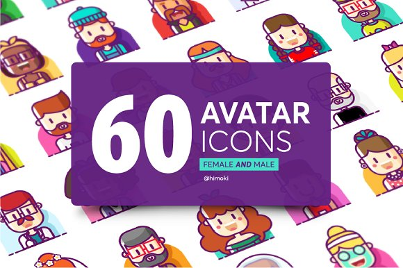 60 avatar icons-female and male in Icons